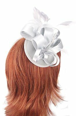 Silver Grey Satin Bow Hair Fascinator with matching Grey feathers on 8cm clip