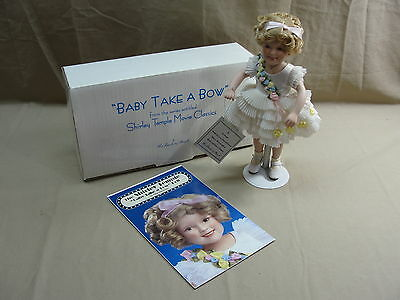 """Shirley Temple Collector's Baby Take A Bow Porcelain Doll W/ Stand 10"""" Danbury"""