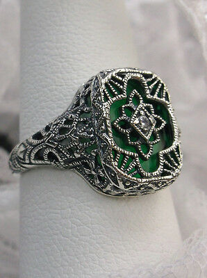 Art Deco Repro Emerald-Glass Solid Sterling Silver 1930's Filigree Ring Size 6