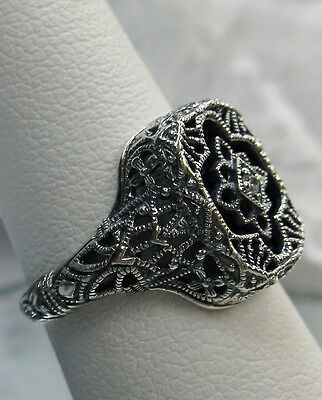 Art Deco Revival Black Glass Solid Sterling Silver 1930s Filigree Ring Size 7