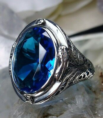 Oval 16ct *Swiss Blue Topaz* Sterling Silver 925 Victorian Filigree Ring, Size 9