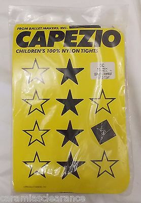 Capezio Girls Ballet Tights Seamless Footed Black Pantyhose Opaque sz Small Vtg