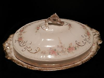 """GORGEOUS Vtg Warwick China Cabbage Rose 15"""" Platter & Handled Cover!"""