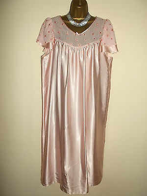 Vintage St Michael Glossy Silky Satin Poly Nightie Negligee Gown UK16-18