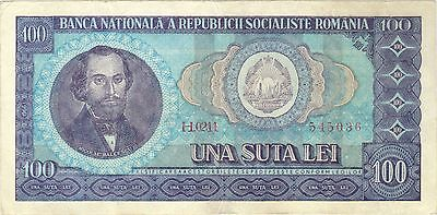 1966 100 Lei Romania Currency Banknote Treasury Note Money Bank Bill Cash Europe