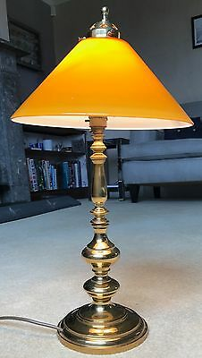 Vintage Christopher Wray Brass Table Lamp with Amber Glass Cooli Shade