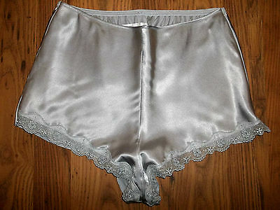 Vtg St Michael Slippery Silky Silver Satin Lacy Tap Pantie French Knickers UK16