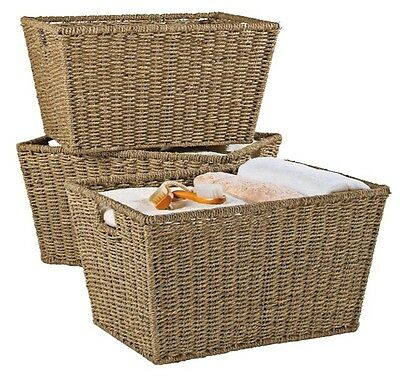 Set of 2 Large Seagrass Deep Storage Baskets with Handle Holes