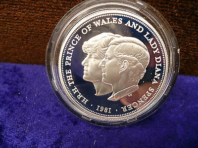 1981 Silver Proof Crown--Prince Of Wales And Lady Diana Spencer Wedding-C.o.a