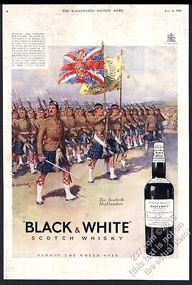 1936 Seaforth Highlander soldiers Black & White Scotch whisky vintage print ad