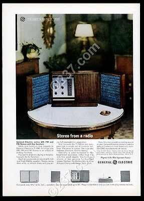 1963 General Electric T-1000 AM FM stereo system photo vintage print ad