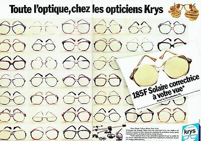 PUBLICITE ADVERTISING 027 1987 les Opticiens Krys (2p) montures de lunettes 25f228950366