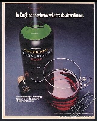 1973 Cockburn's Special Reserve Port bottle photo vintage print ad
