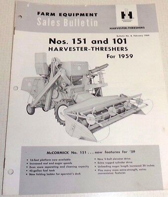 Vintage Ih Mccormick 151 & 101 Harvester Threshers For 1959  Sales Bulletin