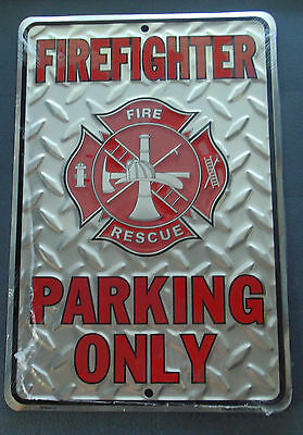 """FIREFIGHTER PARKING ONLY SILVER DIAMOND PLATE METAL PARKING SIGN  8"""" x 12"""""""