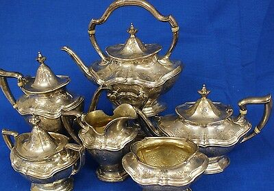 Antique Reed & Barton Hepplewhite Sterling Silver 6-Piece Coffee & Tea Service