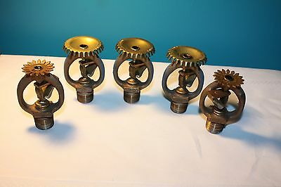 Vintage Lot of 5 FIREMATIC 1976 Brass Sprinkler Heads Steampunk 752A