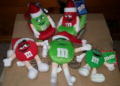 5 Christmas M & M  Red And Green - 2 In Vibrating Cars Stuffed Plush