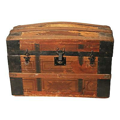 Vintage CAMELBACK TRUNK w Tray storage chest steamer wood old antique box wooden