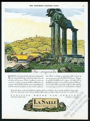 1928 Cadillac LaSalle open touring car touring ruins art vintage print ad
