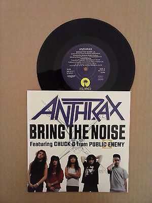"""Anthrax Bring The Noise - Etched 7"""" vinyl single record UK IS490 ISLAND 1991"""