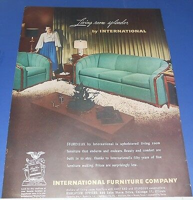 1948 International Furniture Ad Sturdilux upholstered living room couch/chair