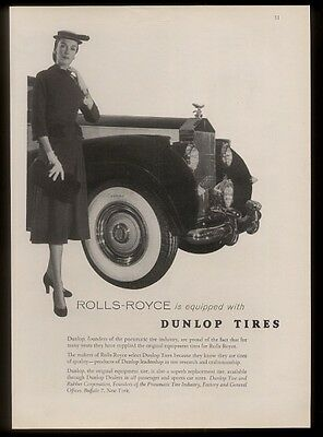 1954 Rolls-Royce car photo Dunlop tires vintage print ad