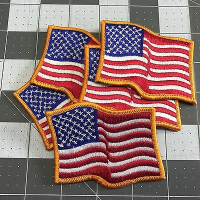AMERICAN FLAG EMBROIDERED PATCH iron-on GOLD WAVING USA applique LOT of 5