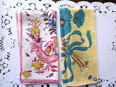 Vintage 2 Floral Hankie Handkerchief with Tags New 1950's