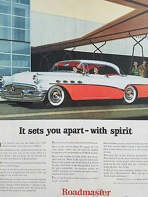 1956 Red White Buick Car one  page original color ad