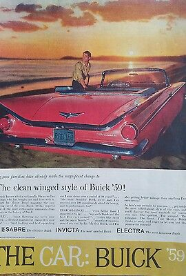 1959 red Buick convertible car at beach original color ad