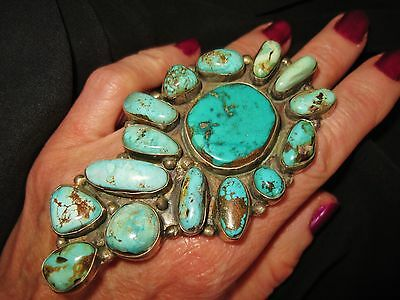 LYDIA BEGAY TEAL TURQUOISE CLUSTER RING with OLD TIME FEEL, 52gr Sterling Silver
