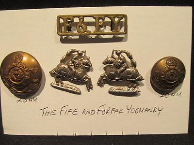 Fife & Forfar Yeomanry WWI British Army Selection of 5 Badges & Buttons