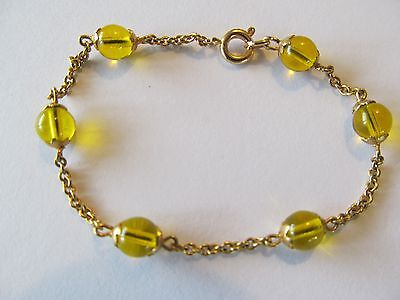 BABY's GOLD PLATED w/SIX FANCY GOLDEN YELLOW BEADS LINKED BANGLE BRACELET