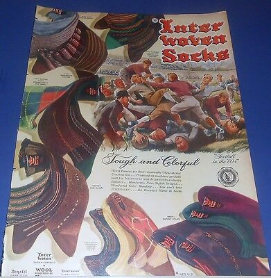 1947 Interwoven Socks print Ad FOOTBALL in the 1880's dirty/drag-out fight