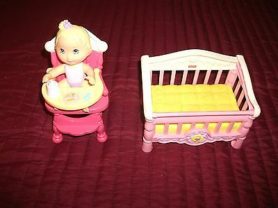 Fisher Price Snap N Style Doll, High Chair & Crib
