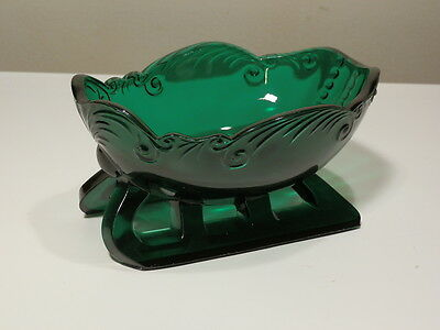 "Vintage Fostoria Large 6"" Green Sleigh Candy Dish Excellent"