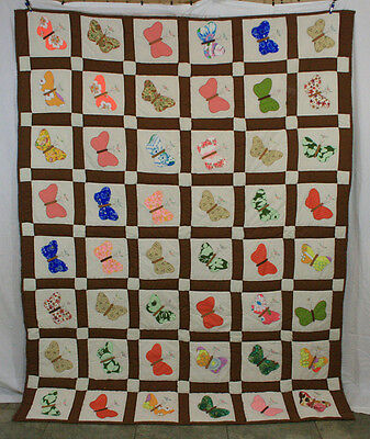 Vintage Applique Embroidered Butterfly 48 Butterflies Hand Stitched Quilt