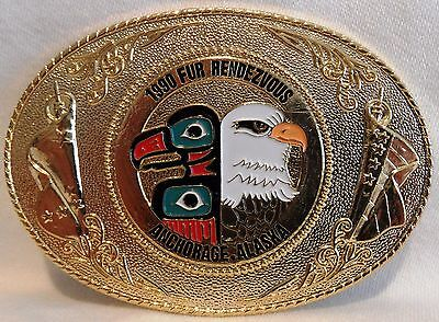 1990 Anchorage Fur Rondy Rendezvous Collector Belt Buckle Bald Eagle-Totem Pole