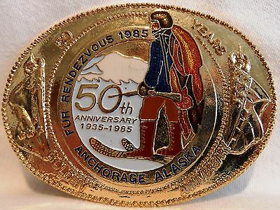 1985 Anchorage Fur Rondy Rendezvous Collector Belt Buckle Trapper 50th. Anniv.
