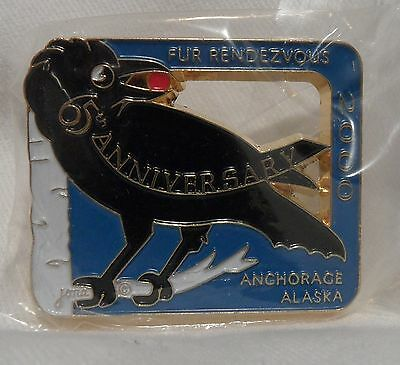 2000 Anchorage Fur Rondy Rendezvous Collector Pin Pinback Raven 65th. Anniv.