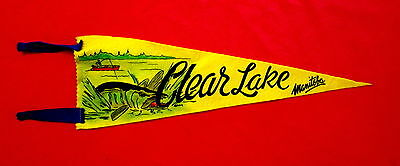 Clear Lake Manitoba Canada Souvenir Travel Pennant with fisherman in boat msc5