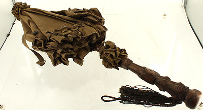 Antique Victorian Carved Wood Brown Silk Ruffled Carriage Doll Parasol c1860