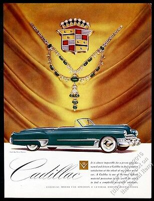 1950 Cadillac convertible gorgeous green car vintage print ad