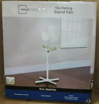 """Mainstays 16"""" Oscillating Stand Fan White"""