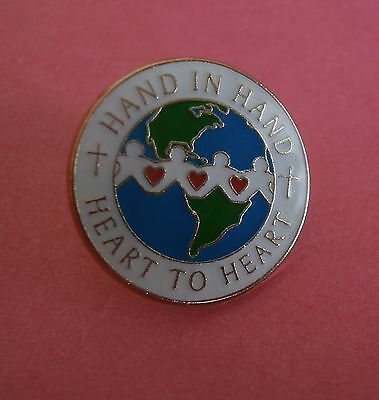 Hand in Hand Heart to Heart  - Christian Lapel Pin
