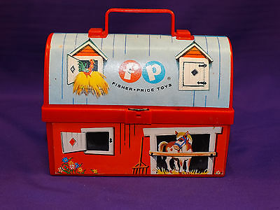 Vintage 1962 Fisher Price Toy Barn Lunch Box No Thermos Farm House Child