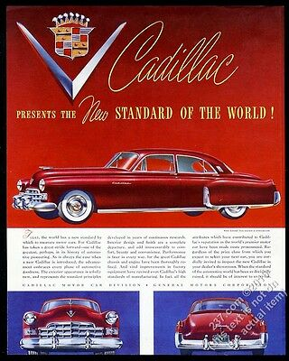 1948 Cadillac sedan red car art New Standard Of The World vintage print ad