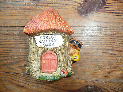 Vintage 1978 ENESCO Piggy Bank RACCOON FOREST NATIONAL BANK ceramic EUC