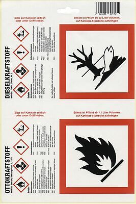 Adhesive Labels nach new GHS for Fuel canister Labels Sticker Kanister